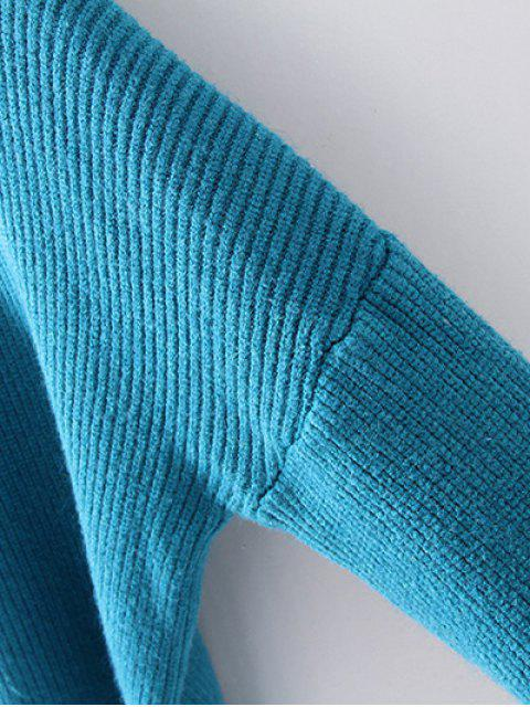 women's Turtleneck Relaxed Jumper - LAKE BLUE ONE SIZE Mobile