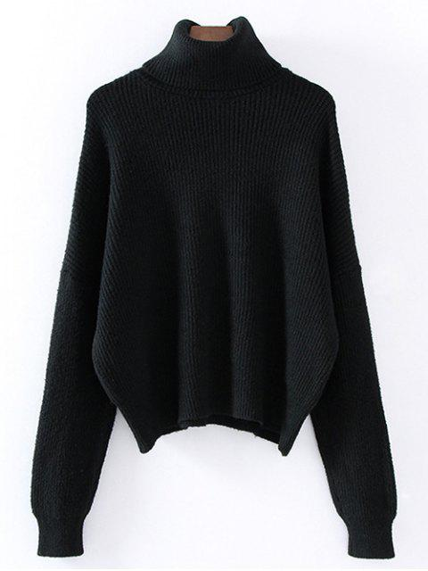 ladies Turtleneck Relaxed Jumper - BLACK ONE SIZE Mobile