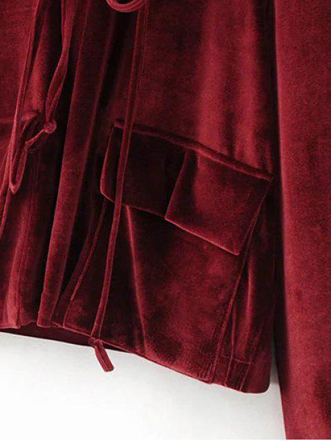 outfit Flap Pockets Drawstring Velvet Hoodie - BURGUNDY L Mobile