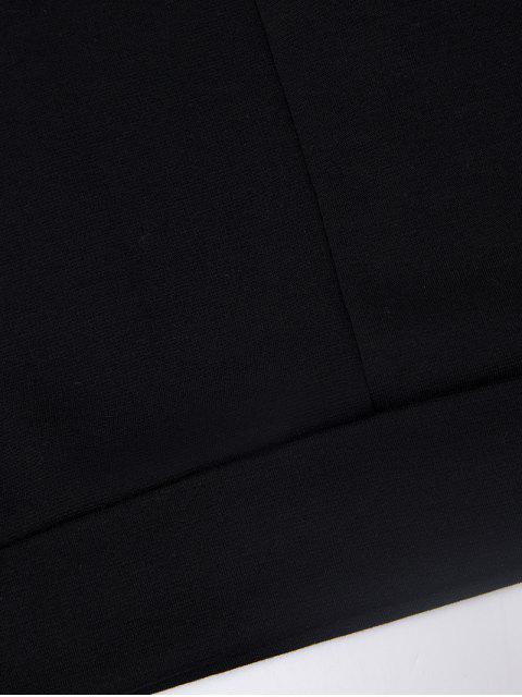 trendy Turtle Neck Cold Shoulder Sweatshirt - BLACK S Mobile
