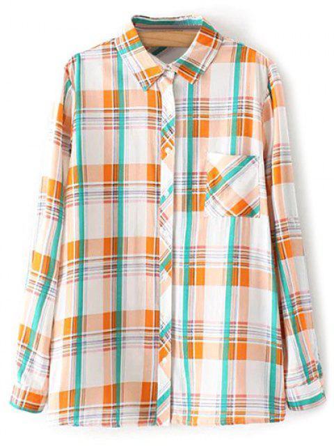 fancy Boyfriend Button Up Pocket Plaid Shirt - ORANGE XL Mobile