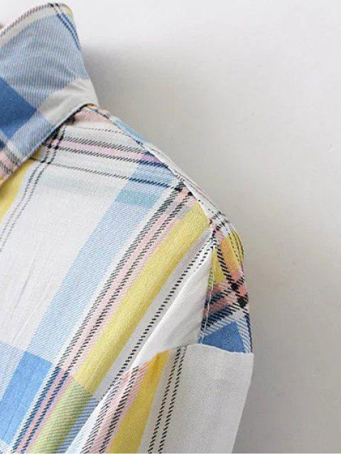 fashion Boyfriend Button Up Pocket Plaid Shirt - ORANGE 3XL Mobile