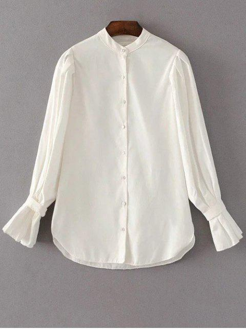 women Frilled Sleeve Button Up Chiffon Blouse - WHITE M Mobile