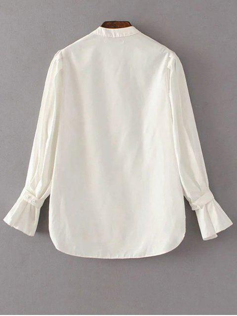 womens Frilled Sleeve Button Up Chiffon Blouse - WHITE L Mobile