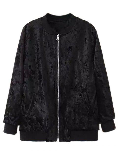 shop Velvet Pilot Jacket - BLACK S Mobile