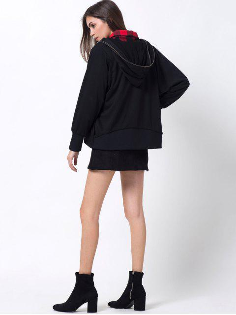unique Batwing Sleeve Zip Up Hoodie - BLACK L Mobile