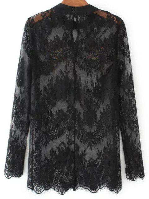 ladies Birds Embroidered Lace Top - BLACK L Mobile