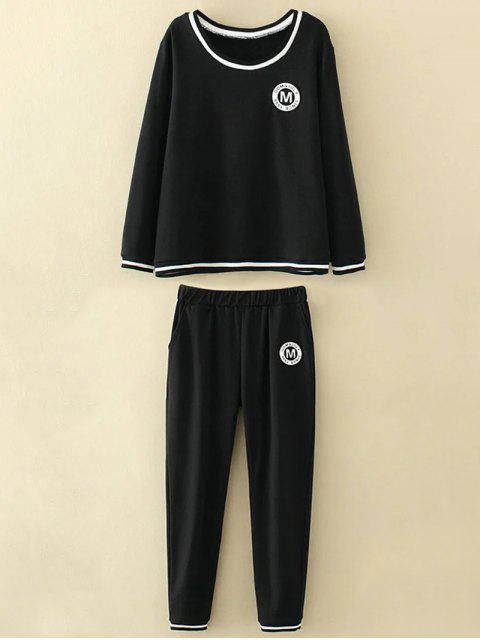 Haut et pantalons grande taille avec applique M - Noir XL Mobile