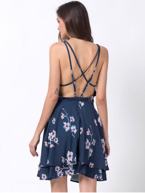 new Tiny Floral Slip A Line Dress - BLUE 2XL Mobile