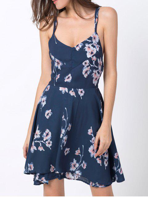 hot Tiny Floral Slip A Line Dress - BLUE XL Mobile