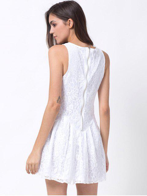 chic Sleeveless Lace Mini Dress - WHITE S Mobile