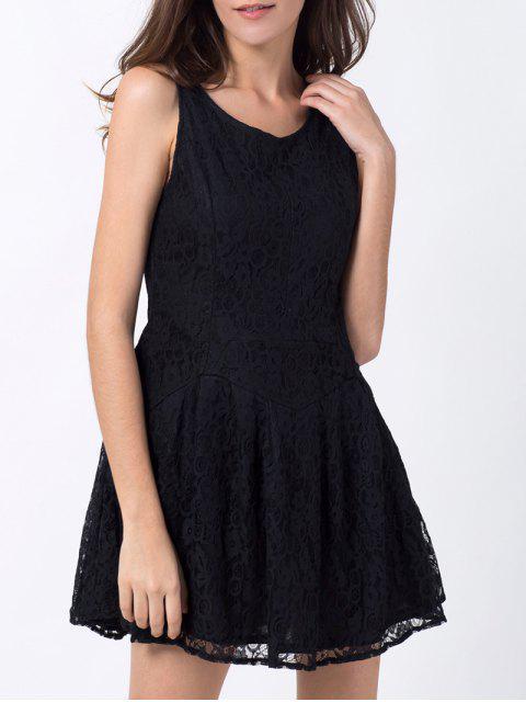 Sin mangas mini vestido de encaje - Negro S Mobile