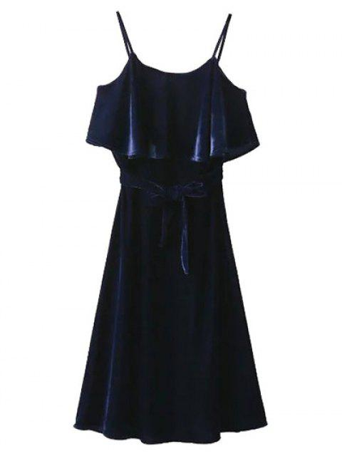 women Slip Belted Ruffle Velvet Swing Dress - PURPLISH BLUE L Mobile