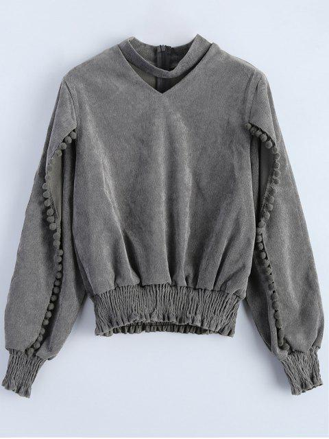 affordable Oversized Choker Sweatshirt - GRAY L Mobile