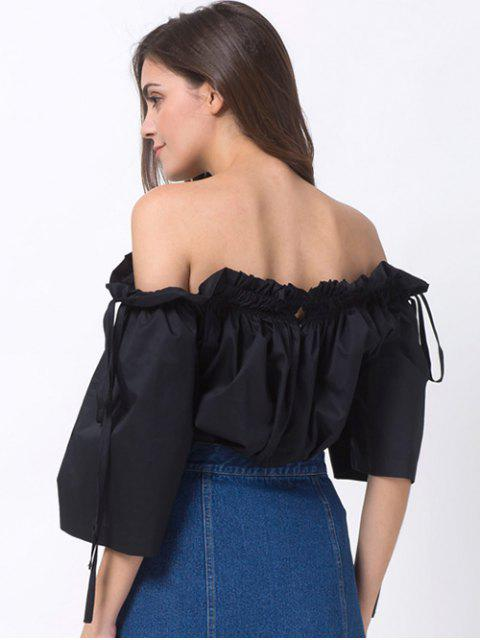 hot Ruffles Off Shoulder Blouse - BLACK M Mobile