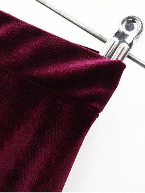 sale Velvet A Line Mini Skirt - BLACK S Mobile