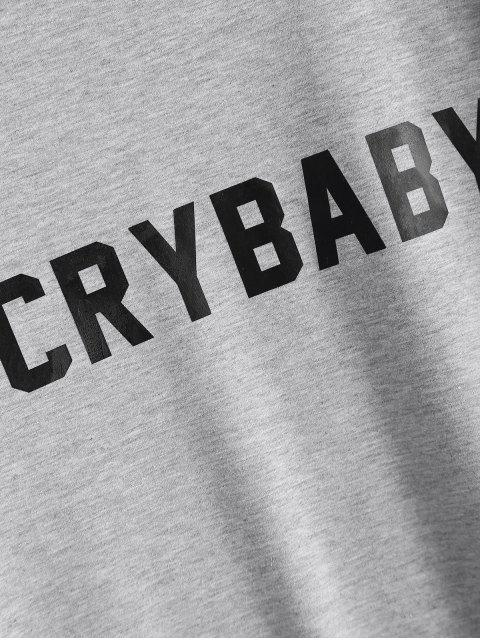 fashion Short Sleeve Crybaby Graphic Tee - GRAY XL Mobile