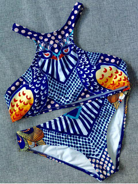 women Ethnic Printed Sports Bikini Set - BLUE L Mobile