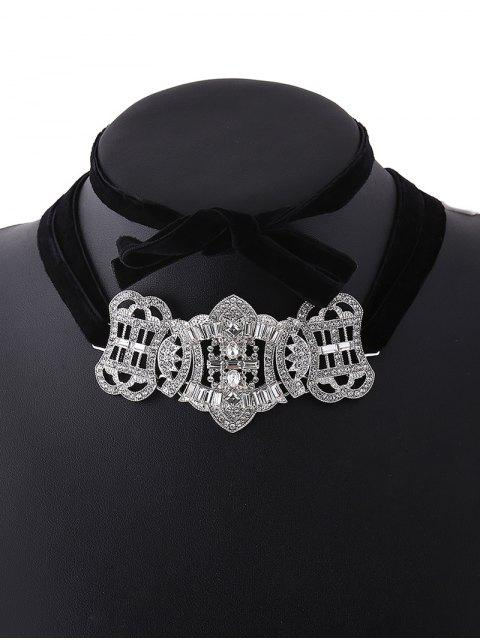 shop Layered Velvet Bowknot Choker - SILVER  Mobile