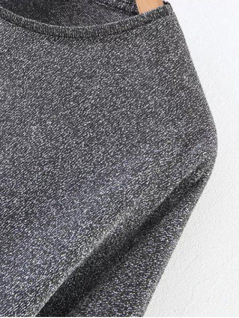 latest Puff Sleeve Cropped Smock Top - GRAY M Mobile
