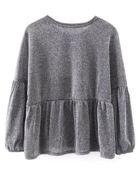 shops Puff Sleeve Cropped Smock Top - GRAY L Mobile