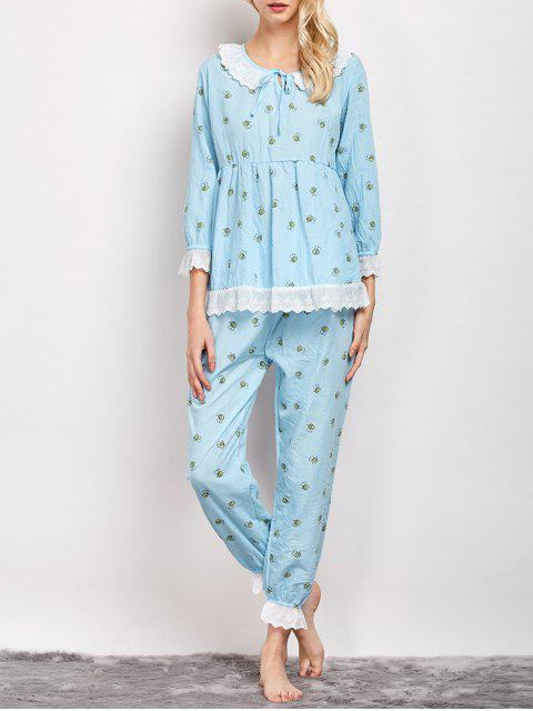buy Printed Smock Top and Pants Pajama - LIGHT BLUE L Mobile