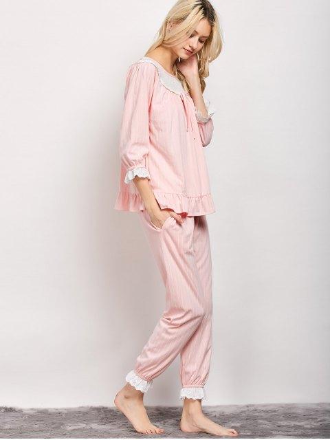lady Lacework Smock Top and Pants Pajama - PINK XL Mobile