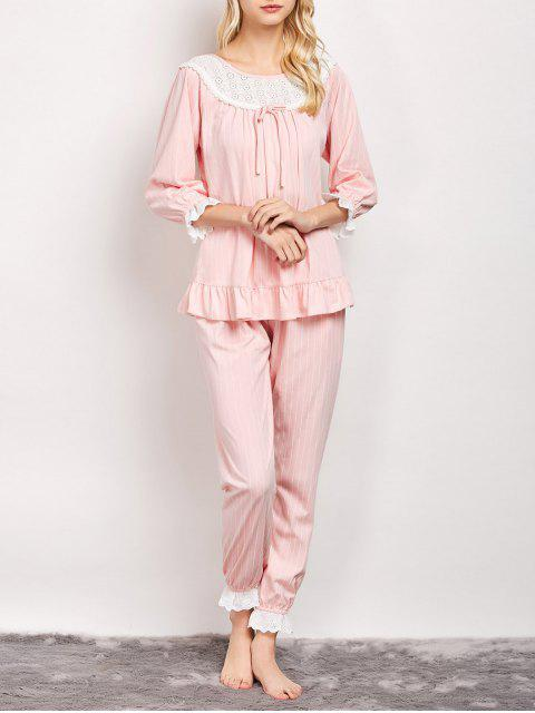 lady Lacework Smock Top and Pants Pajama - PINK XL Mobile