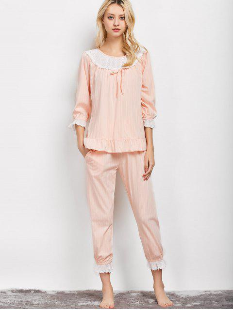 online Lacework Smock Top and Pants Pajama - APRICOT XL Mobile