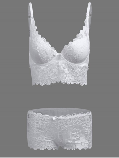 womens Floral Applique Lace Bra Set - WHITE 75C Mobile