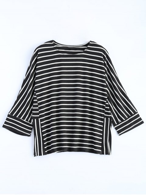 ladies Oversized Side Slit Striped T-Shirt - BLACK M Mobile