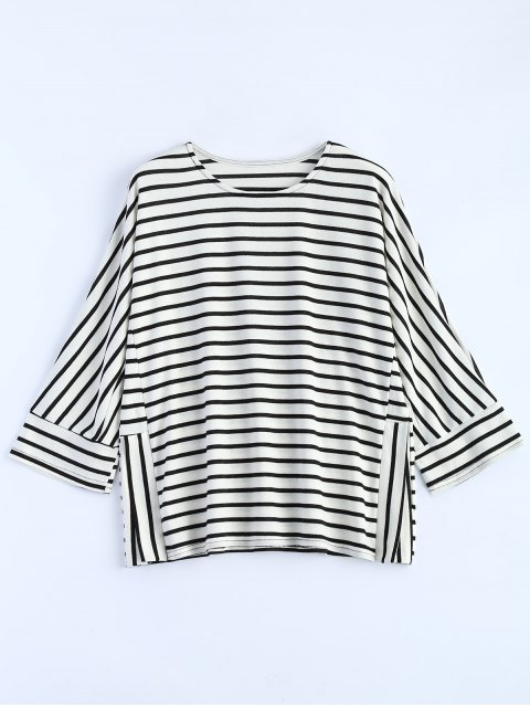new Oversized Side Slit Striped T-Shirt - WHITE M Mobile
