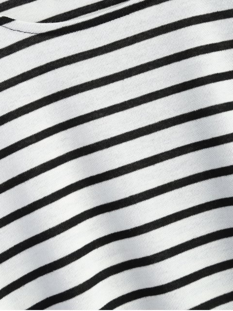 hot Oversized Side Slit Striped T-Shirt - WHITE S Mobile