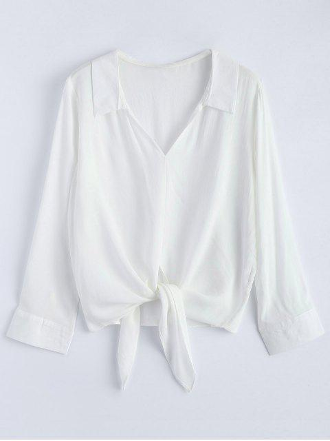 shops Loose Tied Blouse - WHITE S Mobile
