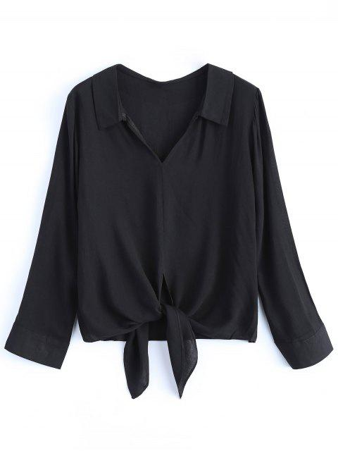 fashion Loose Tied Blouse - BLACK M Mobile