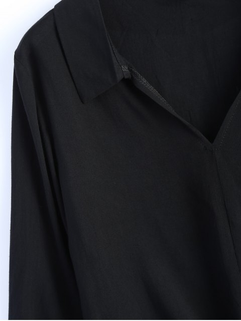 latest Loose Tied Blouse - BLACK XL Mobile