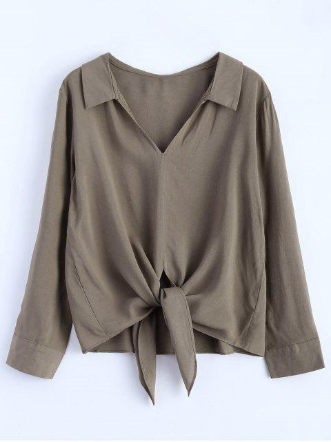 affordable Loose Tied Blouse - GRIEGE S Mobile