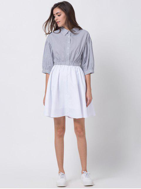 ladies A Line Stripes Puff Sleeve Shirt Dress - GREY AND WHITE 2XL Mobile