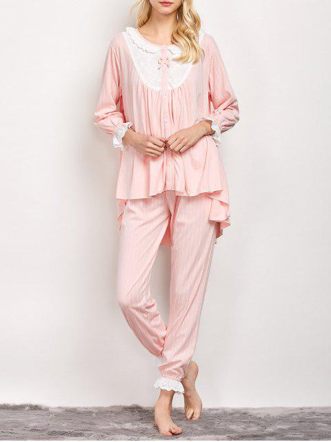 latest Striped Swing Top and Pants Pajama - LIGHT PINK L Mobile