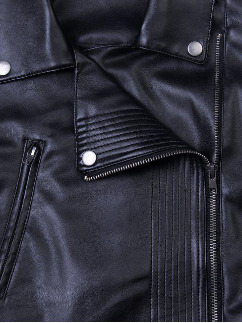 sale Lapel Zipper Biker Jacket - BLACK S Mobile