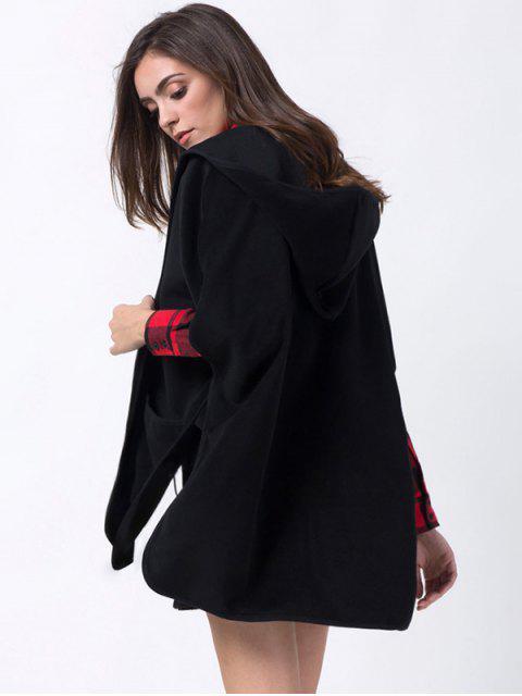 affordable Slit Hooded Coat with Pocket - BLACK XL Mobile