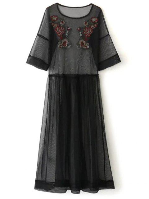 outfits See Thru Tulle Embroidered Maxi Dress - BLACK S Mobile