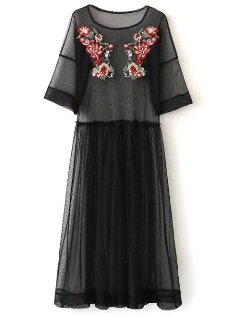 outfit See Thru Tulle Embroidered Maxi Dress - BLACK M Mobile