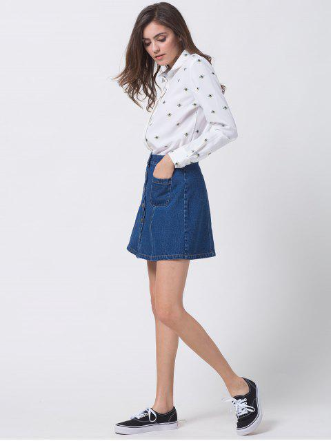 sale Funny Bee Print Shirt - WHITE L Mobile