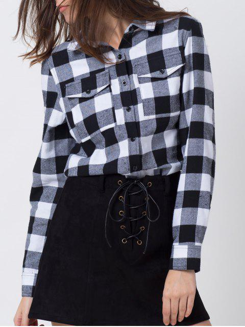 lady Tartan Shirt with Pocket - WHITE AND BLACK M Mobile