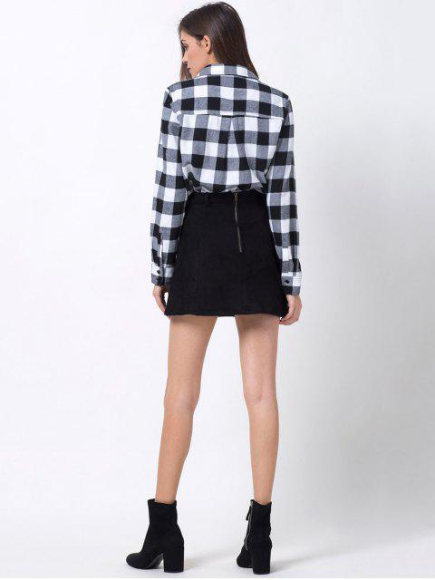 online Tartan Shirt with Pocket - WHITE AND BLACK XS Mobile