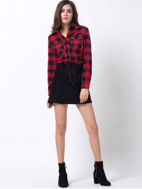 shop Tartan Shirt with Pocket - RED WITH BLACK S Mobile