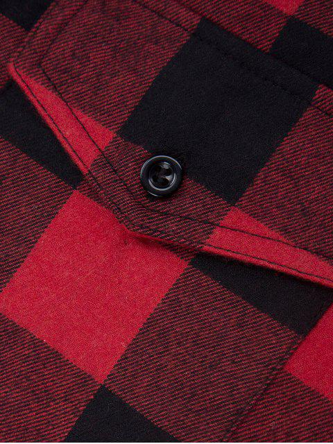 new Tartan Shirt with Pocket - RED WITH BLACK 2XL Mobile