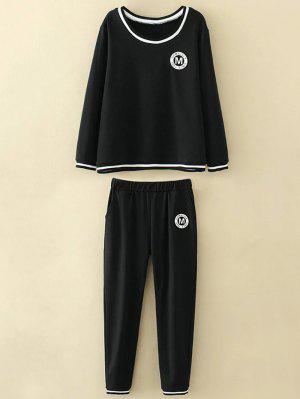 Tamaño Más Apliques Tapa Y Los Pantalones - Negro 3xl