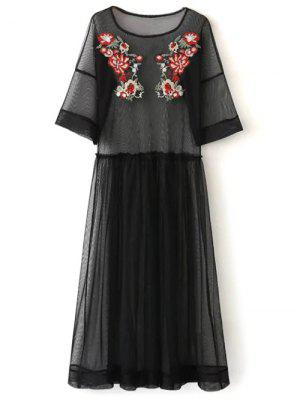 See Thru Tulle Embroidered Maxi Dress - Black - Black S